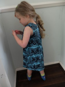 She found a dead daddy long legs in the corner (Actually a harvestman but what can you do).