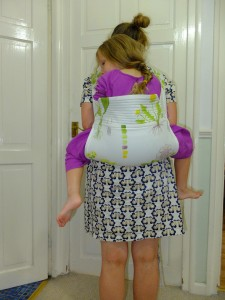 Here I am, stress testing the carrier with a child that is far too big for it.